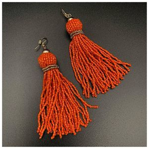 Orange Beaded Fringe Tassel Statement Earrings